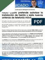 14/07/09 Pedro Castro pretende autorizar la instalación de treinta y siete nuevas antenas de telefonía móvil