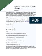 Equações Explícitas Para o Fator de Atrito de Darcy