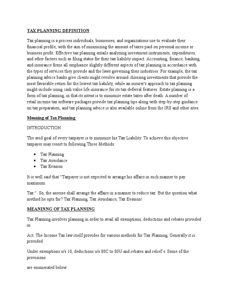 tax planning definition | tax avoidance | trust law