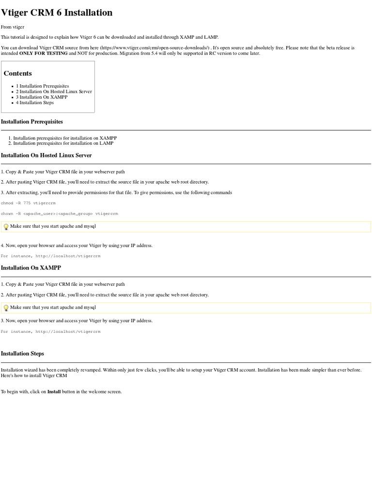 Vtiger CRM 6 Installation - Vtiger | Web Server