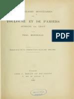 Les ateliers monétaires de Toulouse et de Pamiers pendant la ligue / par Paul Bordeaux