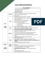Proposed Itinerary for Macau_ HongKong Trip