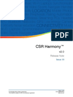 CSR Harmony 2.0 Software Release Note