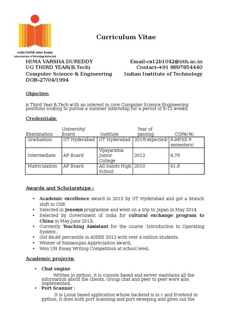 Hima Varsha Cs12b1042 Resume | Computing | Tecnología