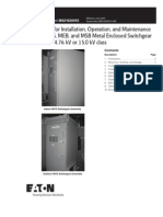 Instructions for Installation, Operation, and Maintenance of Type MVS, MEB, and MSB Metal Enclosed Switchgear Assemblies
