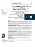 the Effect of Electronic Word of Mouth on Brand Image and Purchase Intention