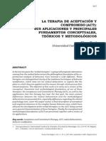 ACT Sus Aplicaciones y Principales Fundamentos Conceptuales, Teóricos y Metodológicos