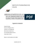 Analisis Estadistico de La Varacion en Las Dimenciones de Probetas Para Pruebas de Tensión