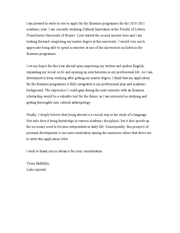 Motivation Letter Motivation Letter For University Admission