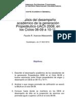 Análisis del desempeño  generación Propedéutico-UACh 2008