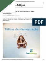 Educação - 3 Táticas Infalíveis de Memorização Para Estudantes