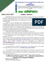 lettre aux adherents édition avril 2010
