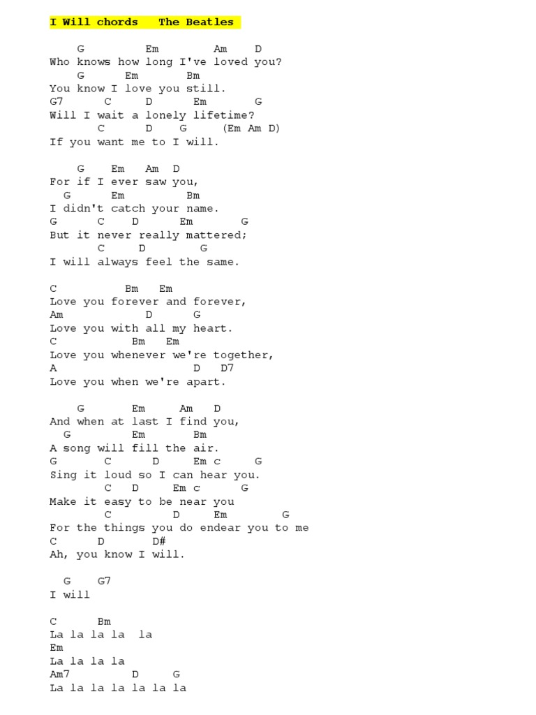 I Will   Beatles CHORDS