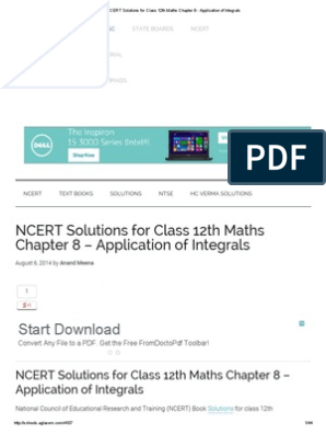 NCERT Solutions for Class 12th Maths Chapter 8 - Application
