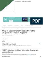NCERT Solutions for Class 12th Maths Chapter 10 - Vector Algebra