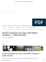 NCERT Solutions for Class 12th Maths Chapter 4 - Determinants