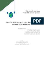 Obtención de acetona a partir de alcohol isopropílico
