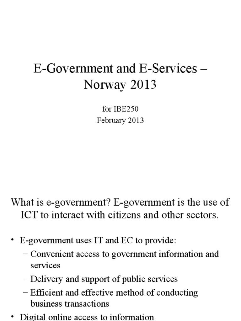 E Government Norway 2013 E Government Service Industries