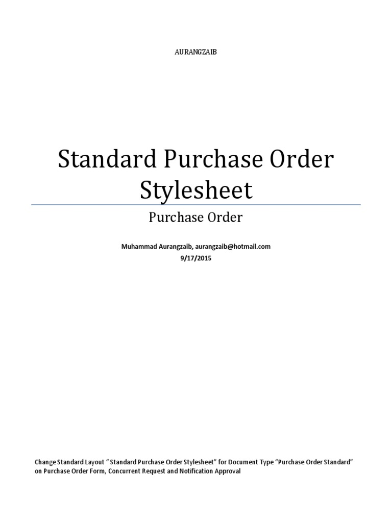 Oracle EBS R12 Change Standard Purchase Order Stylesheet – Standard Purchase Order Form