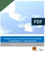 Políticas Anti-Crisi en la CA Euskadi. GOBIERNO Y OPOSICION