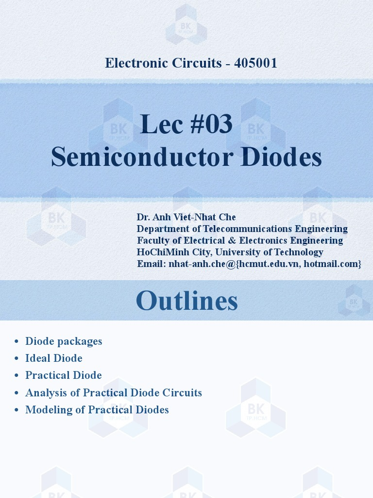 Lec3 405001 Bk Pn Junction Diode Note All Diodes Used In Circuit Are In4007 The Transistor Is