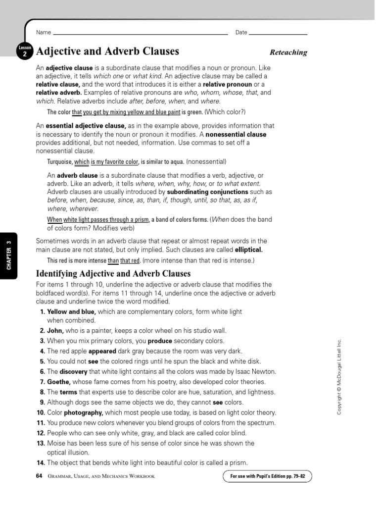 Clauses Lesson2 Questions   Vision   Morphology