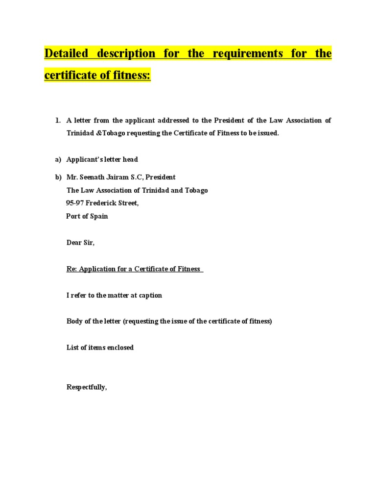 Certificate Of Fitness Template Revised April 2015 Identity