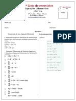 2ª Lista de Equações Diferenciais e Séries