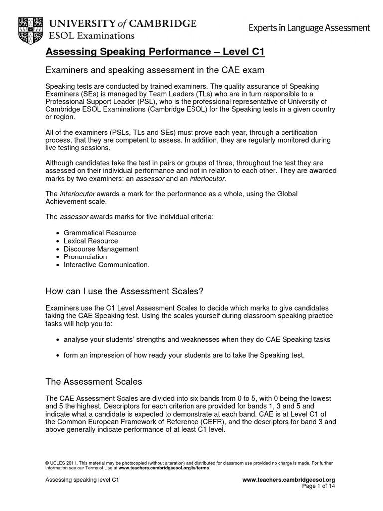 Assessing Speaking Level C1 Educational Assessment Test Assessment
