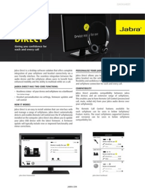 Jabra Direct Software Datashet ENUS | Microsoft Windows | Graphical