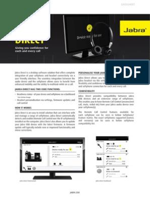 Jabra Direct Software Datashet ENUS | Microsoft Windows | Graphical