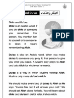 Grade 1 Islamic Studies - Worksheet 5.1 - Dhikr and Du'a - Part 1