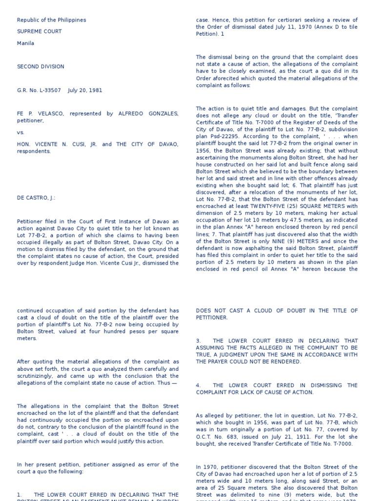 G R  No  L-33507 Velasco v Cusi | Easement | Complaint