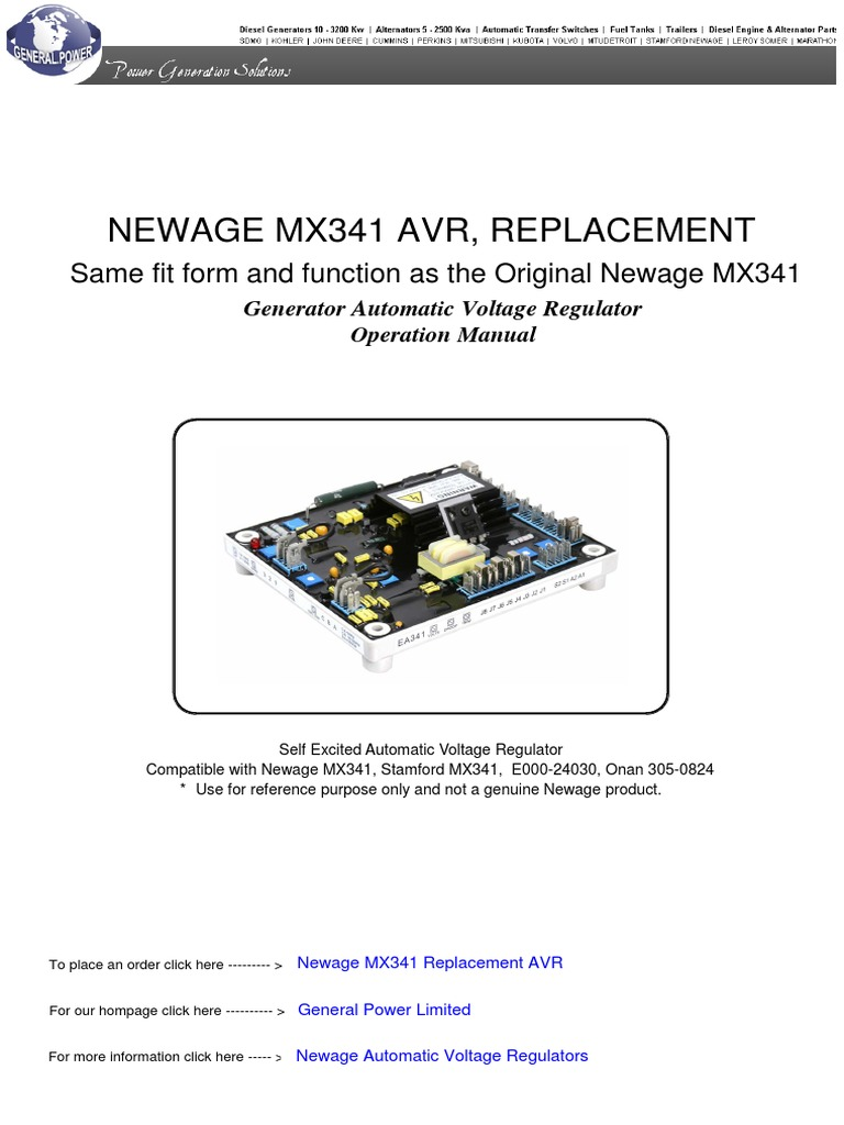 Newage Mx341 Automatic Voltage Regulator Electric Generator Stamford Wiring Diagram