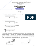 Lista 2 - Mecânica Geral - Estática do Corpo Rígido