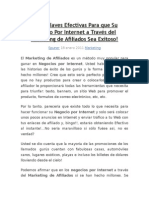 Cinco Claves Efectivas Para que Su Negocio Por Internet a Través del Marketing de Afiliados Sea Exitoso