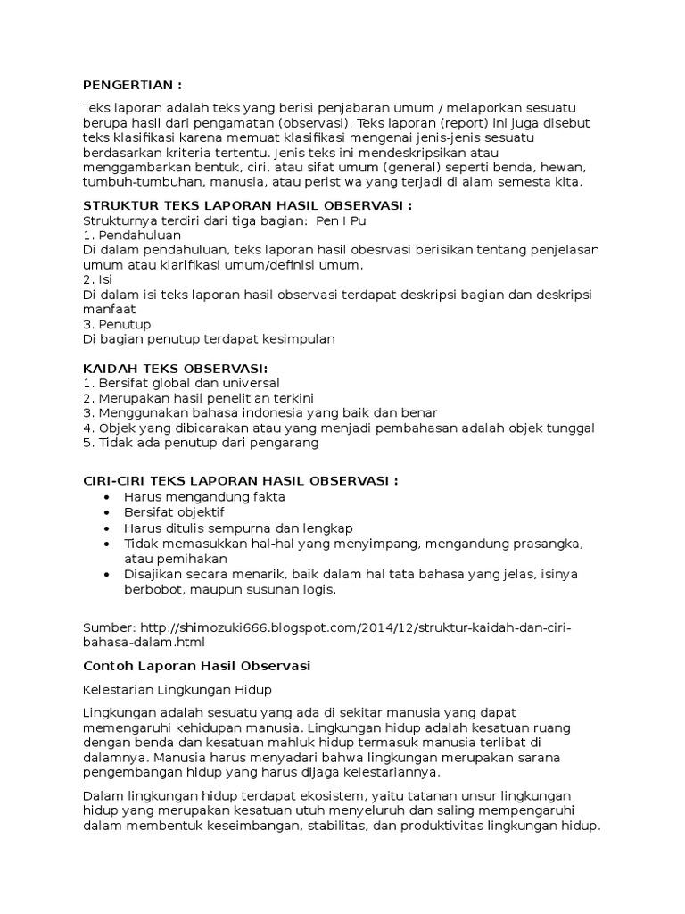 Contoh Laporan Observasi Bahasa Indonesia Seputar Laporan
