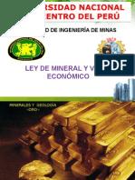Ley de mineral y Valor econmico