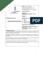 Programa Del Curso - Investigacion Aplicada FCPYS (Ago-Dic 2015)