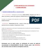Instruções de Matrícula - 2º Semestre de 2015