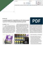 Un 71% de las depresiones profundas y resistentes a medicamentos pueden mejorar y curarse con EMT profunda