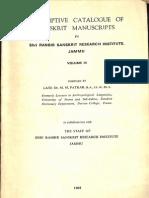 Descriptive Catalog of Sanskrit Manuscripts in Sri Ranbir Sanskrit Research Insitute Jammu Volume III - M.M. Patkar_Part1