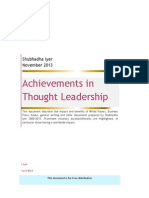 Summary of Achievements in Thought Leadership S. Iyer