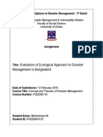 Evaluation of Ecological Approach to Disaster Management in Bangladesh
