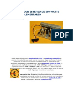 Amplificador Estereo de 500 Watts Cuasicomplementario