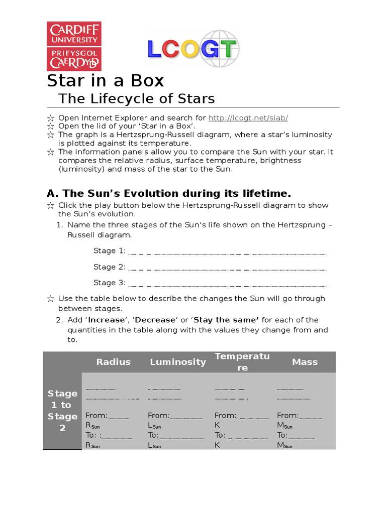 Gcse worksheet stars stellar astronomy pooptronica