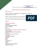 Fundamentos, Manejo, Mantenimiento de Equipos de Medición