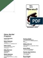 Fall 2013 Dec 6 Piano Recital