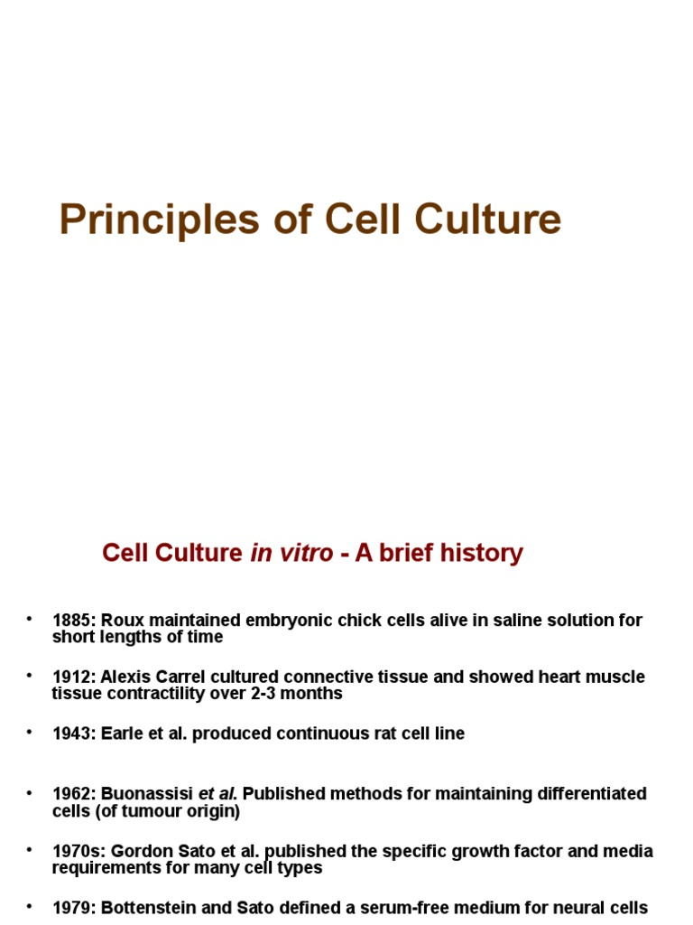 Principles of Cell Culture 1 | Cell Culture | Growth Medium