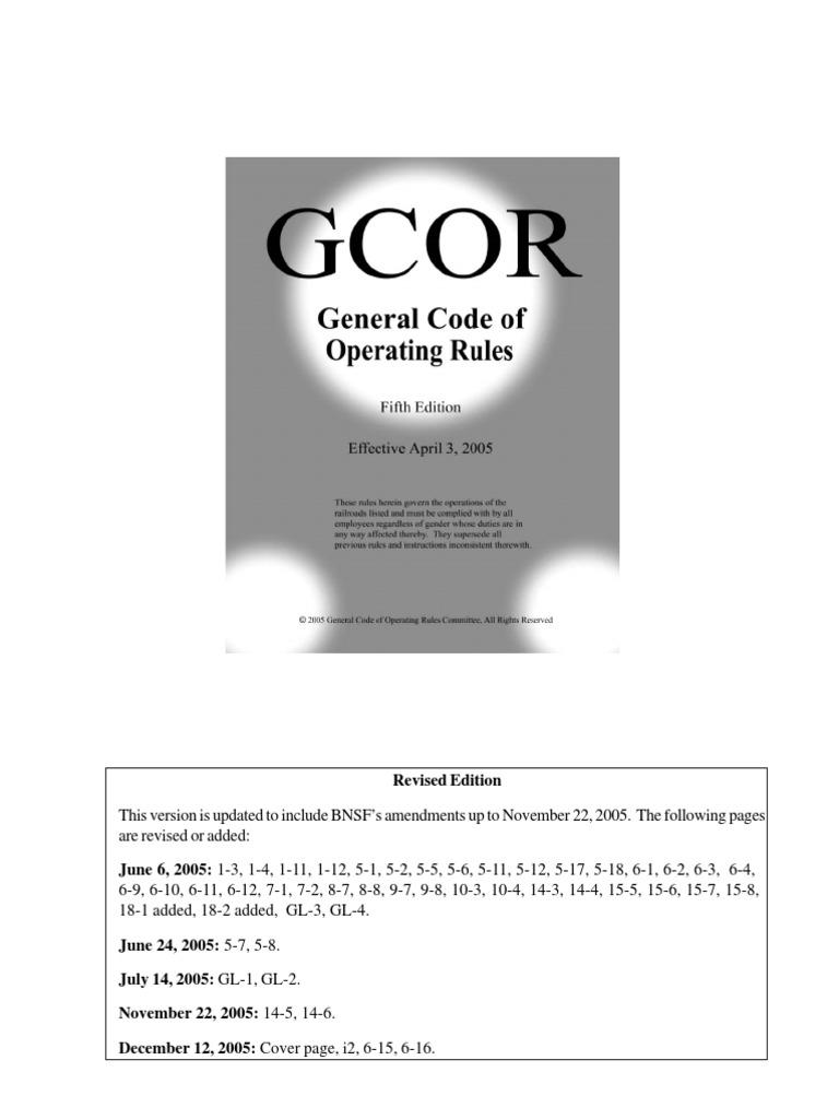 general code of operating rules rail transport transportation rh scribd com Switch Car Gcor Manual for Railroads